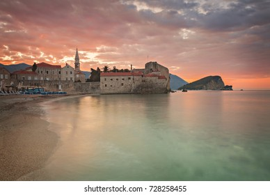 Old town (Stari Grad) of Budva, Montenegro at sunrise.