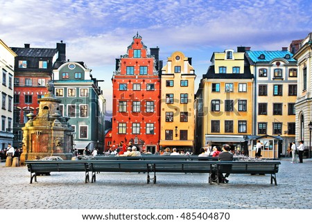 Old town of Stockholm - popular touristic attraction. Sweden