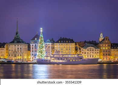 Old Town of Stockholm, Sweden. With christmas tree.