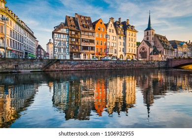 Old town of Strasbourg, France during sunset