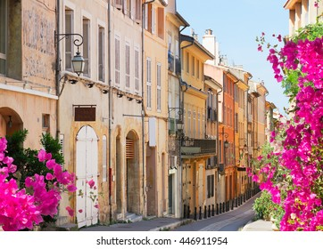 old town street of Aix en Provence at summer day, France