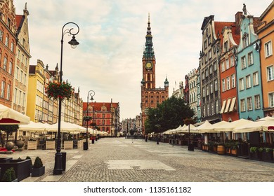 Old Town street and buildings in Gdansk, Poland. European travel destinations.