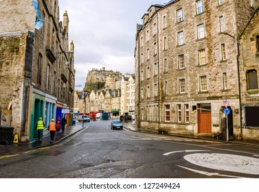 An Old Town Street and the Castle in Edinburgh
