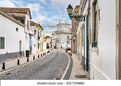 old town street  in the town of Faro, Portugal