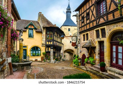 Old town street in Rothenburg,  Germany. Fairytale Rothenburg town. Rothenburg from fairy tale. Rothenburg street scene