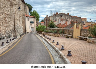 Old town street toad with property houses in the Cannes city at the south of France, Europe, also known as french riviera