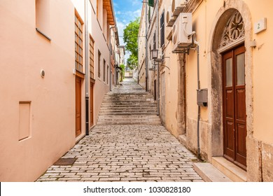 Old town street. View of the street in old town of the Pula city, Croatia.