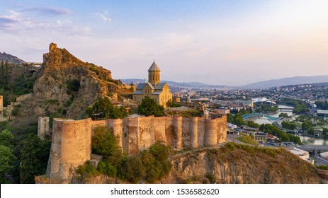 The old town of Tbilisi, Georgia in a panoramic view drone