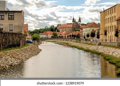 Old town of Třebíč, Trebic, and the Jihlaba river, Czech Repu