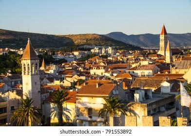 OLD TOWN OF TROGIR;CROATIA,AUSGUST 13,2017:View of Trogir's old Town take from Kamerlengo Castle viewpoint, UNESCO heritage site, Croatia