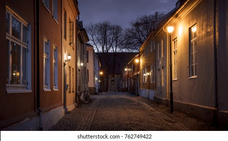 Old town of Trondheim at night, Norway