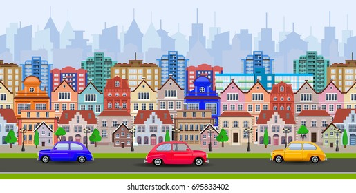 old town village main street a European city. City landscape. Life style. illustration in flat style Raster version