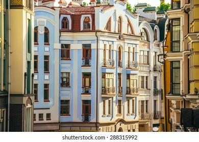 Old town, Vozdvizhenska and Honcharna street in Kiev, Ukraine
