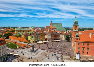 Old Town of Warsaw aerial view of capital city of Poland, HDR technique.