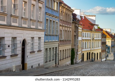 Old town of Warsaw. Different buildings. The travel destination of Poland