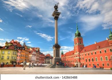 Old town in Warsaw, Poland. The Royal Castle and Sigismund's Column called Kolumna Zygmunta