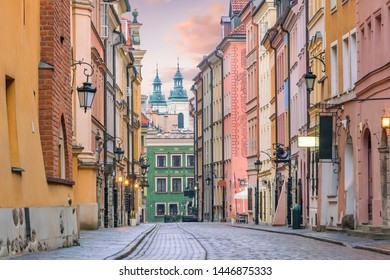 Old town in Warsaw, Poland at twilight