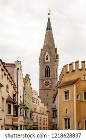 old town with white tower in Brixen, South Tyrol, Italy