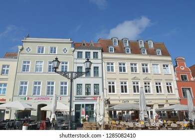 old town of Wismar, mecklenburg western pomerania, germany, april-30-2017