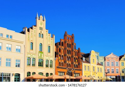 the old town Wismar in northern Germany, houses at the market