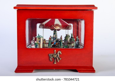 Old toy carousel on white background
