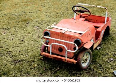 Old toy retro car, tone film vintage style