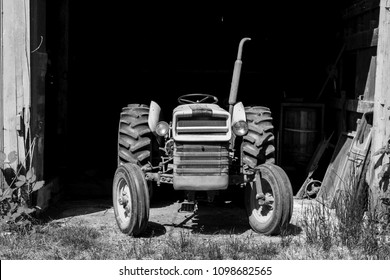 Old Tractor and Barn in Black and White