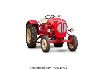 Old tractor on white background