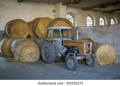 old tractor in stable
