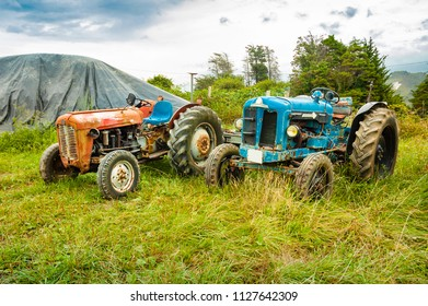 Old tractors parked on a grass field