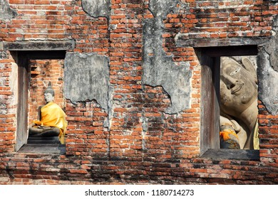 old tradition buddha statue inside ancient wall background