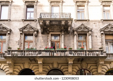 Old Traditional Apartment Building with Windows and Balconies in Budapest Hungary