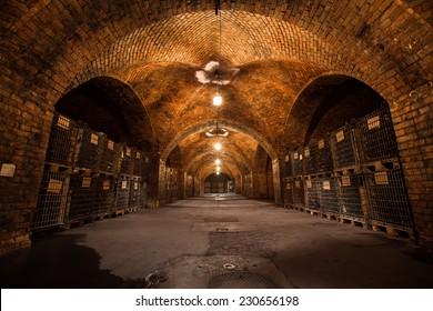 old traditional beverage cellar, poor light