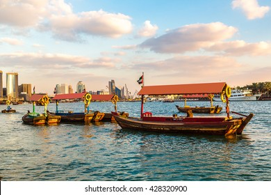 Old traditional boats on the bay Creek in Dubai, United Arab Emirates