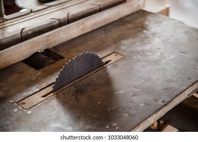 Old traditional carpenter's tools. Circular saw