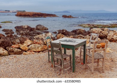 An old traditional fishing cafe on the beach. Chania. Crete.