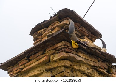 Old traditional gompa buddhist structure in Nar village, Annapurna Conservation Area, Nepal's largest protected area