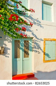 Old traditional  house with green  windows in Kithira island Greece