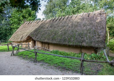 Old traditional longhouse, a copy of a prehistoric houses in the north of europe