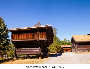 Old traditional Norwegian elevated wooden store house (Stabbur) at Maihaugen Folks museum Lillehammer Oppland Norway Scandinavia