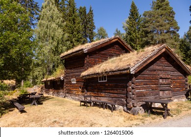 Old traditional Norwegian sod or turf roof log house at Maihaugen Folks museum Lillehammer Oppland Norway Scandinavia