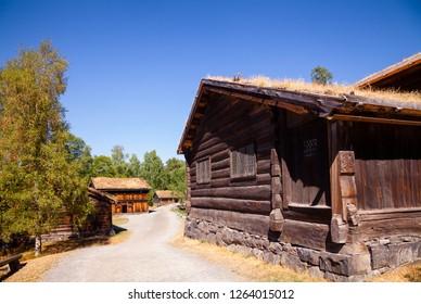 Old traditional Norwegian wooden houses at Maihaugen Folks museum Lillehammer Oppland Norway Scandinavia