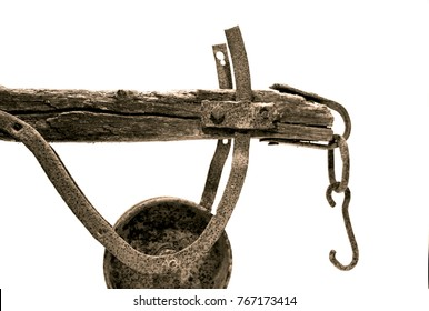 Old traditional plow on the white background