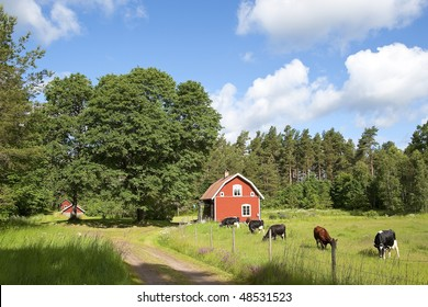 Old traditional red farm house in Sweden