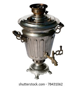 old traditional russian samovar isolated on white background with clipping path