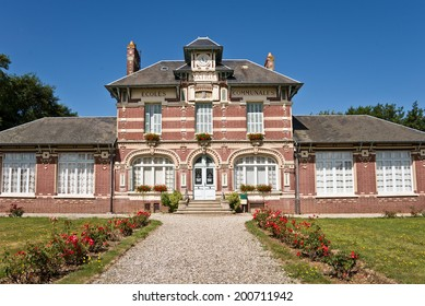 Old traditional school and city hall in a village, Normandy, France