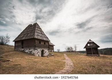 Old traditional Serbian village scene