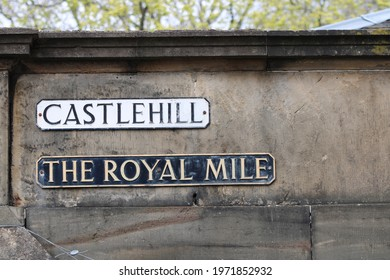 Old Traditional Street Name Signs for Castlehill and the Royal Mile in Edinburgh Scotland