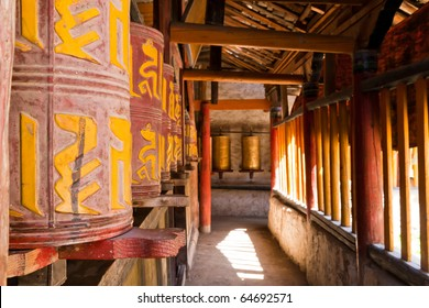 old traditional tibetan prayer wheels