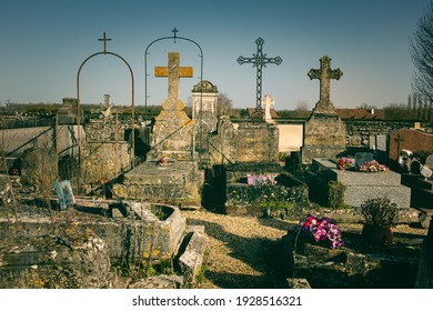 Old traditional village graveyard in the North of France
